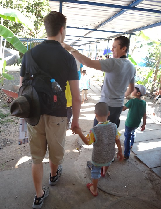 Walking around the orphanage with team member Steve Skilbeck
